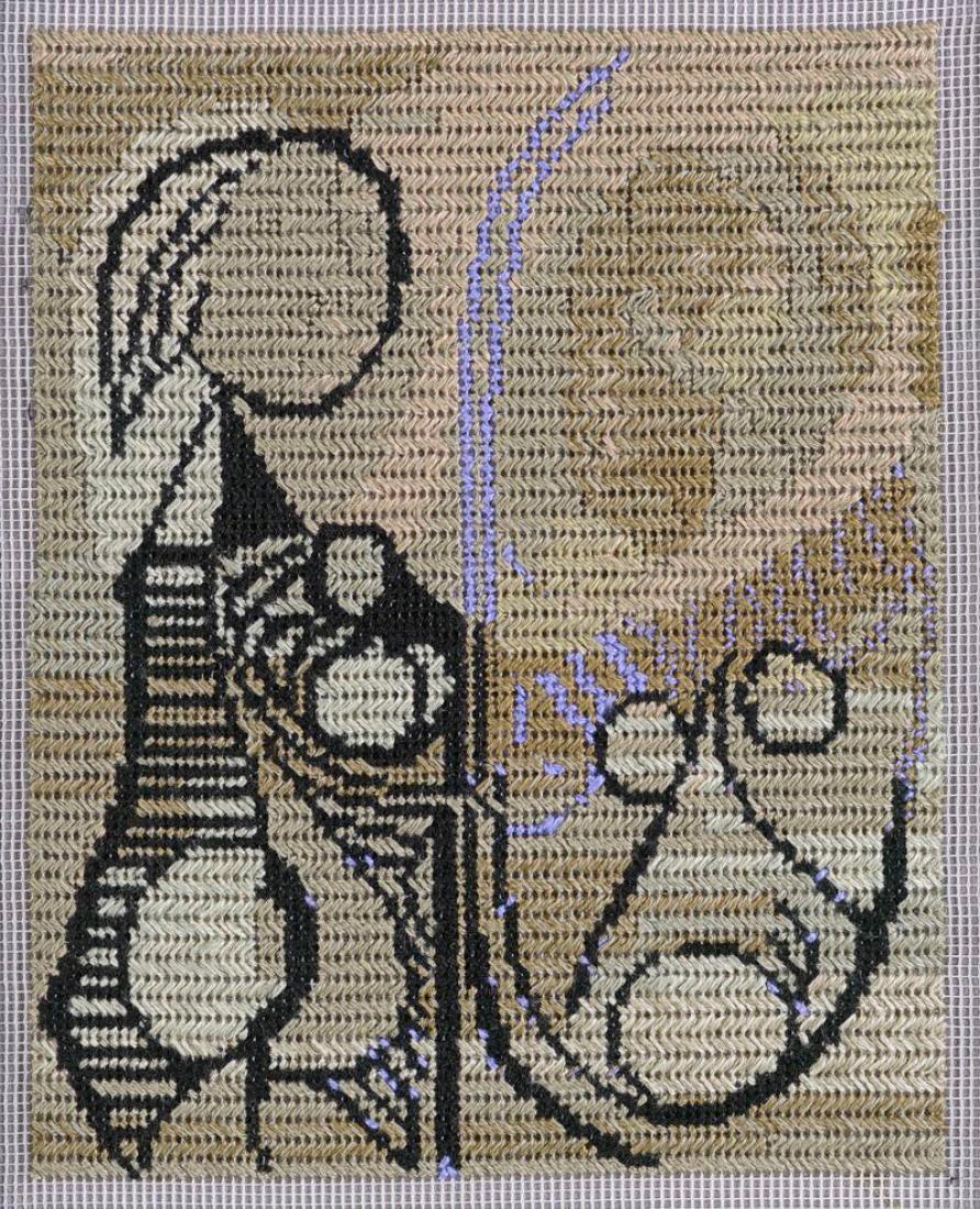 Narelle Jubelin, sin título (Pablo Picasso, 1932), 2014, algodón sobre seda con petit point, 11,5 x 9,5 cm, enmarcado. Cortesía de Marlborough Contemporary, Londres. Fotografía © Francis Ware.