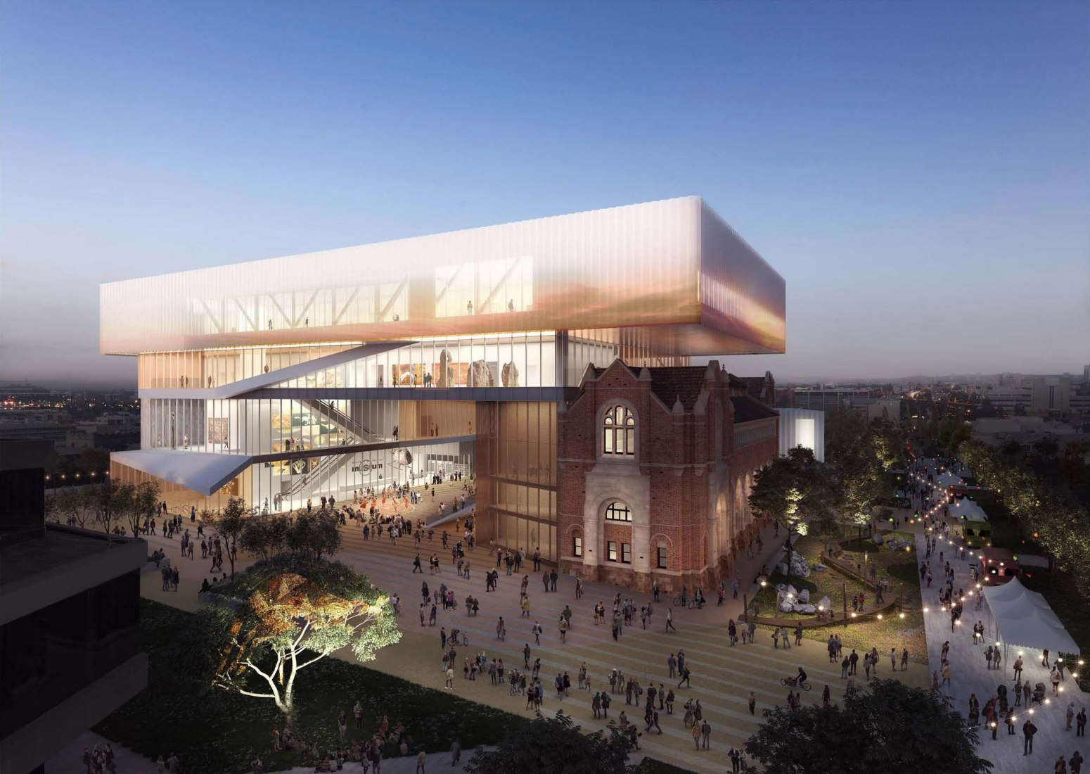 Aerial Hackett Hall Plaza. New Museum for Western Australia by HASSELL + OMA