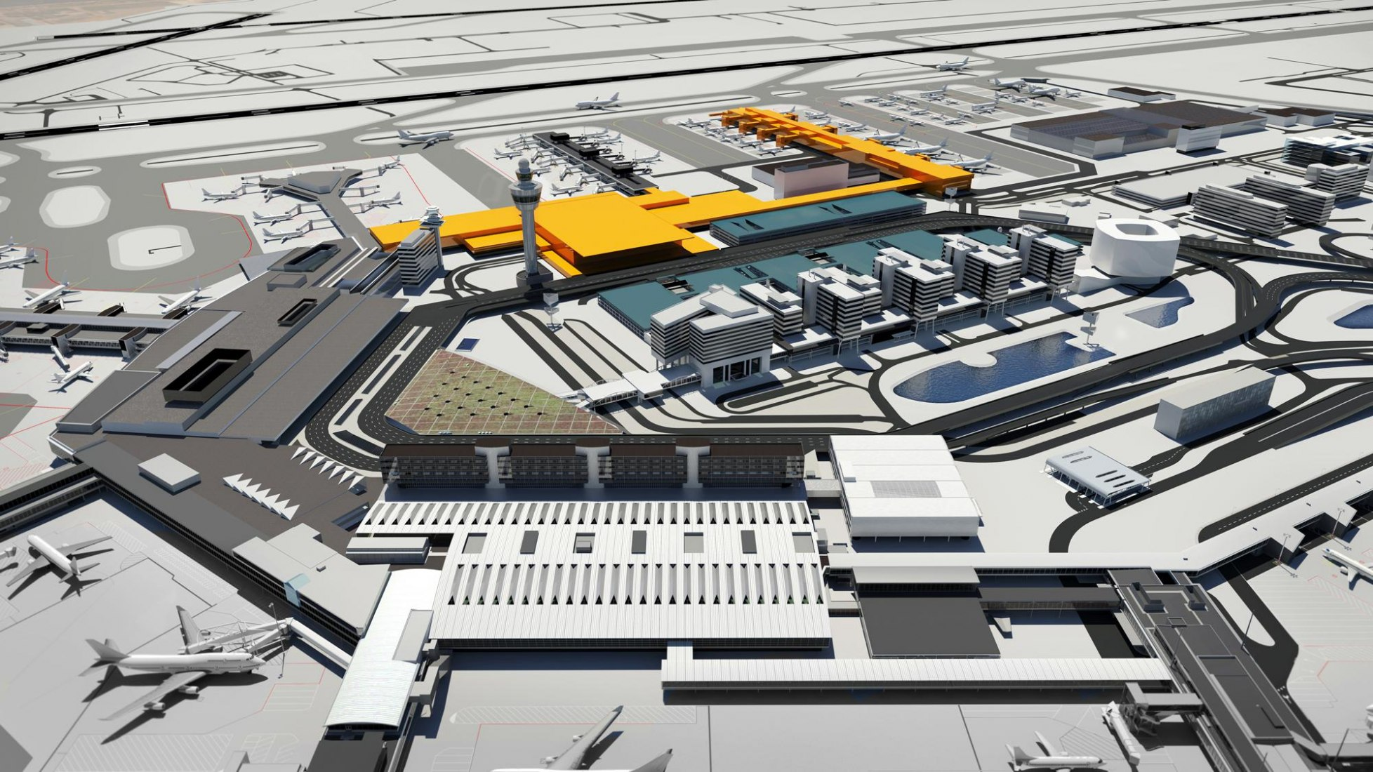 The new pier and terminal (highlighted in yellow) are scheduled to be operational in 2019 and 2023 respectively