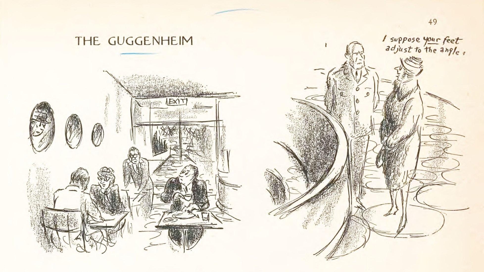 Ilustración de Alan Dunn, tras la inauguración el 21 de octubre de 1959. Cortesía de The New Yorker