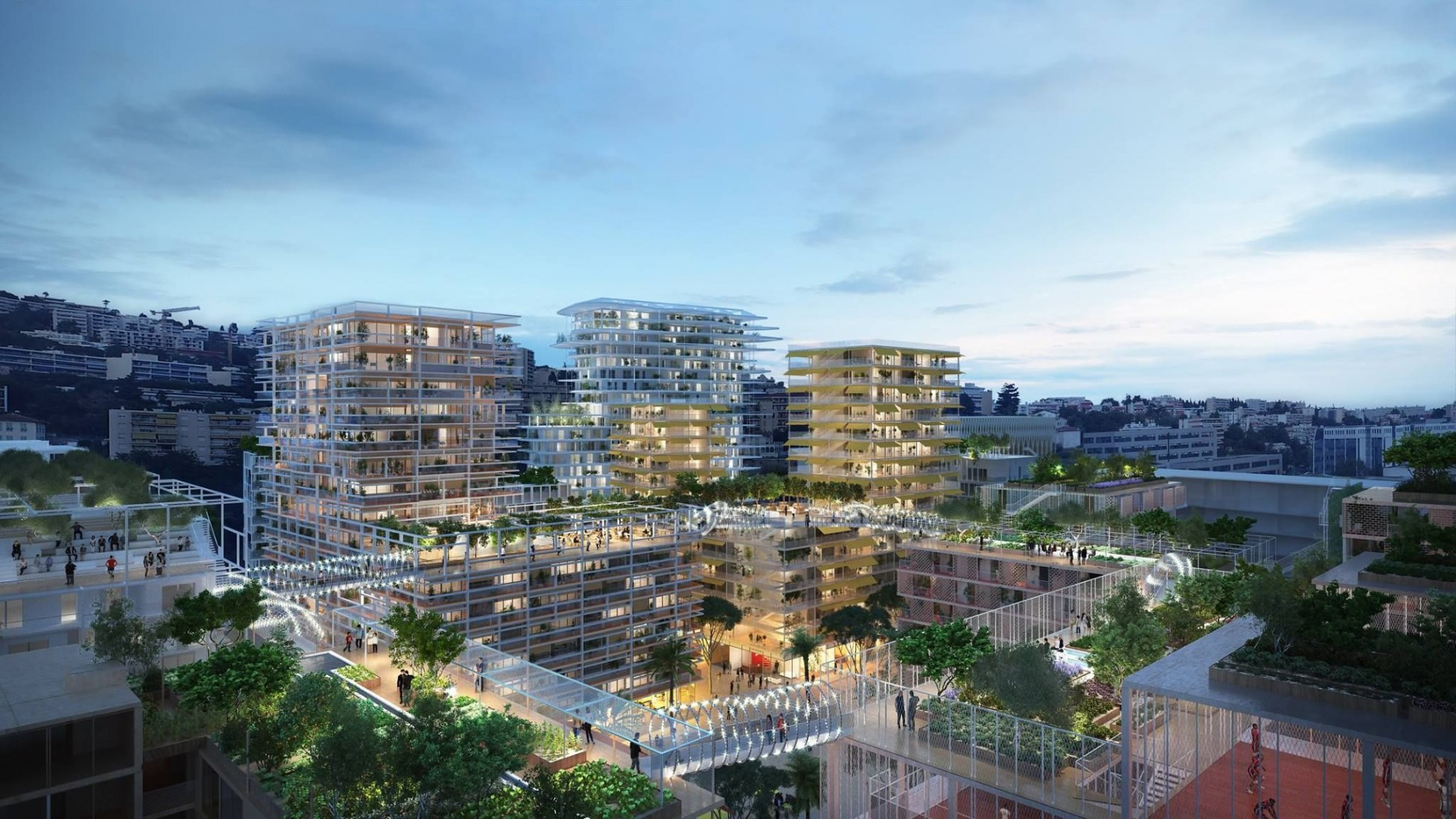 Vista nocturna mirando hacia la propuesta de Lambert Lénack Architects