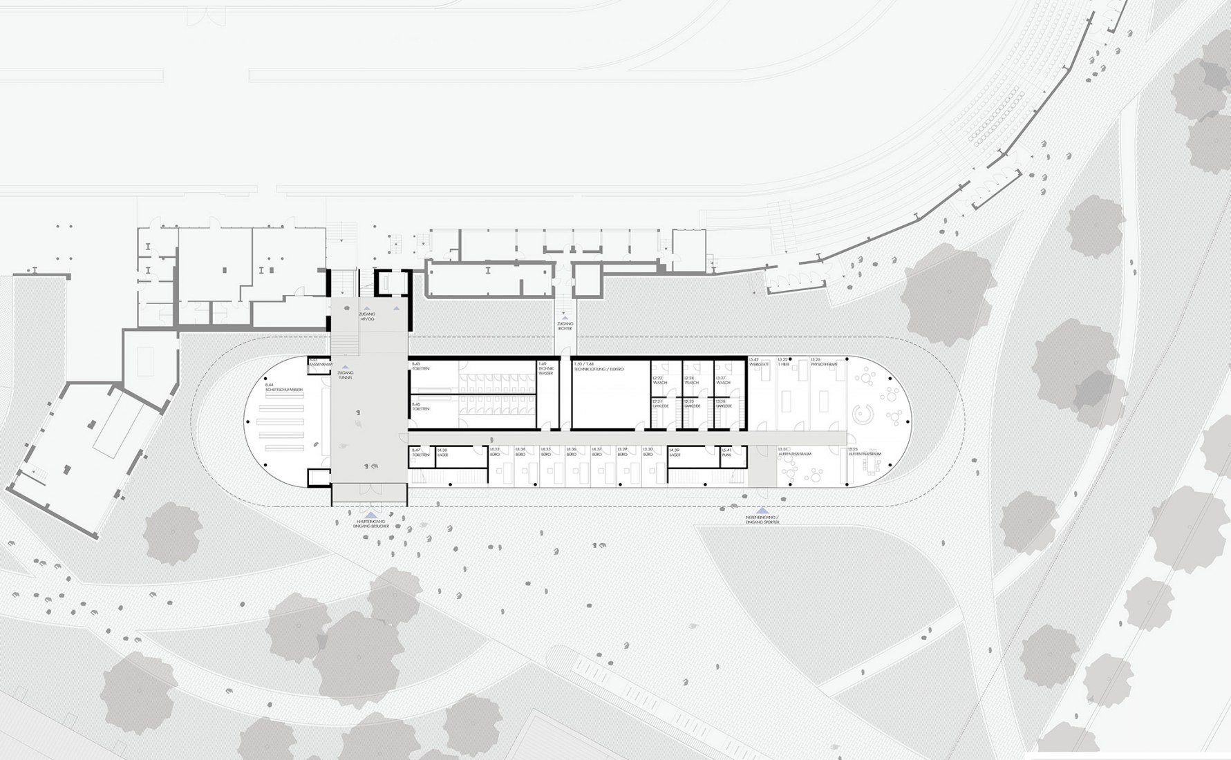 Ground floor plan. Extension of the Ice Rink Sports Centre by Nieto Sobejano Arquitectos. Courtesy of Senate Department for Urban Development and Housing