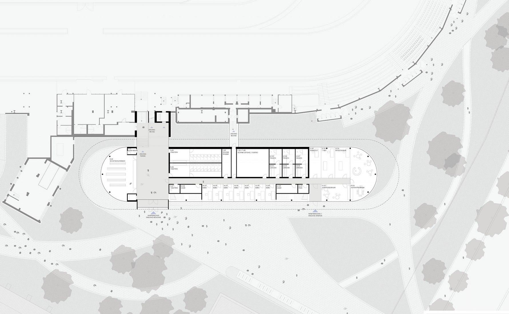 Planta baja. Ampliación del centro Sportforum de Berlín por Nieto Sobejano Arquitectos. Cortesía del Departamento del Senado para Desarrollo Urbano y Vivienda