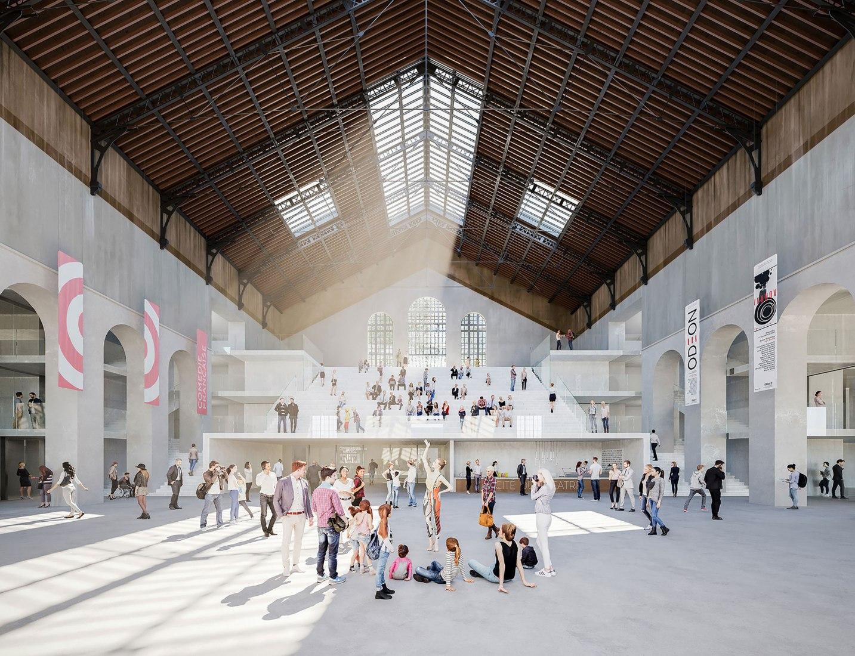 Vista interior, visualización. Cité du Théâtre-París por Nieto Sobejano Architecte mandataire & Marin Trottin Architecte associé
