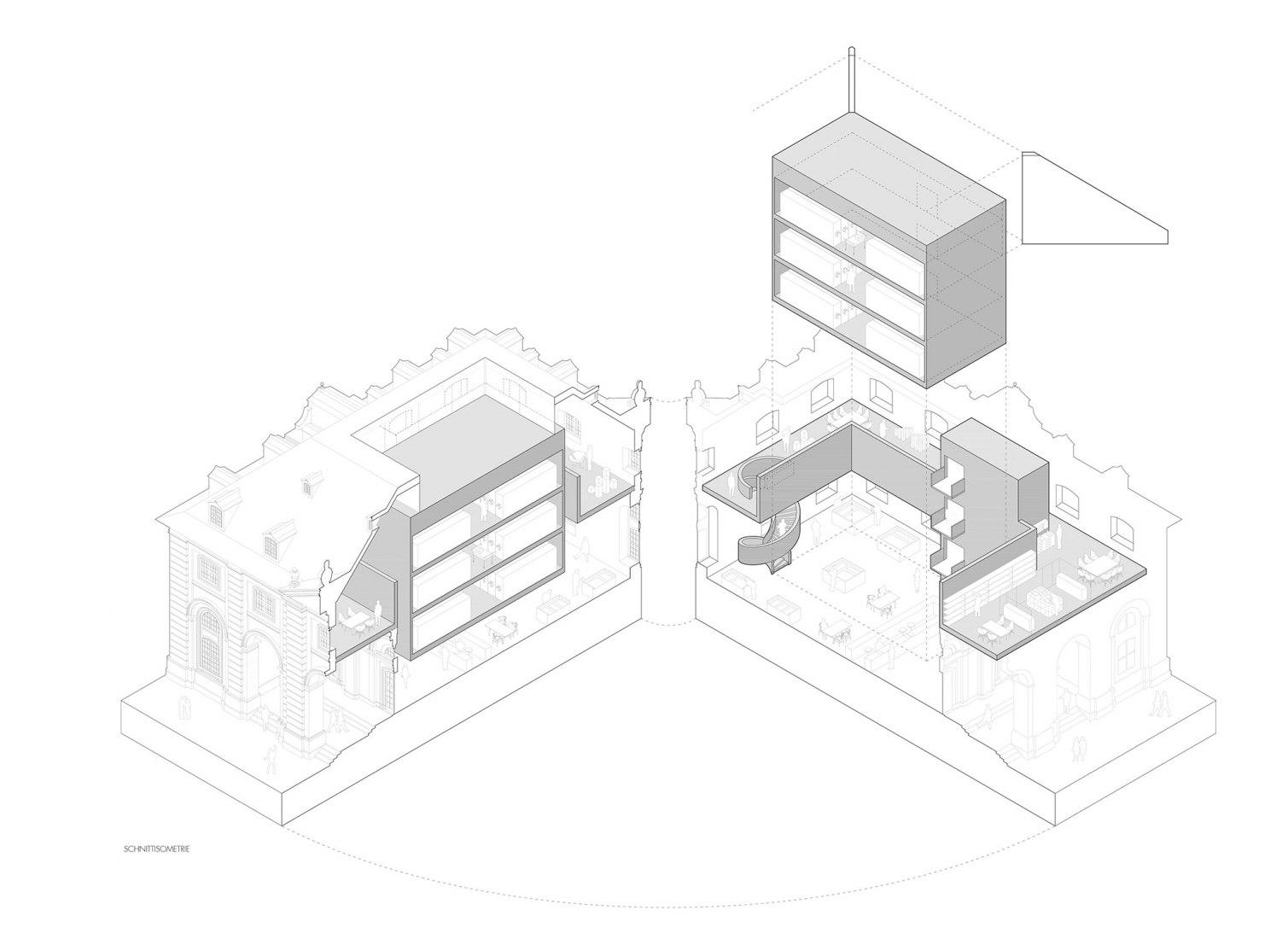 Isometric section. Archiv der Avantgarde by Nieto Sobejano. Image courtesy of Nieto Sobejano