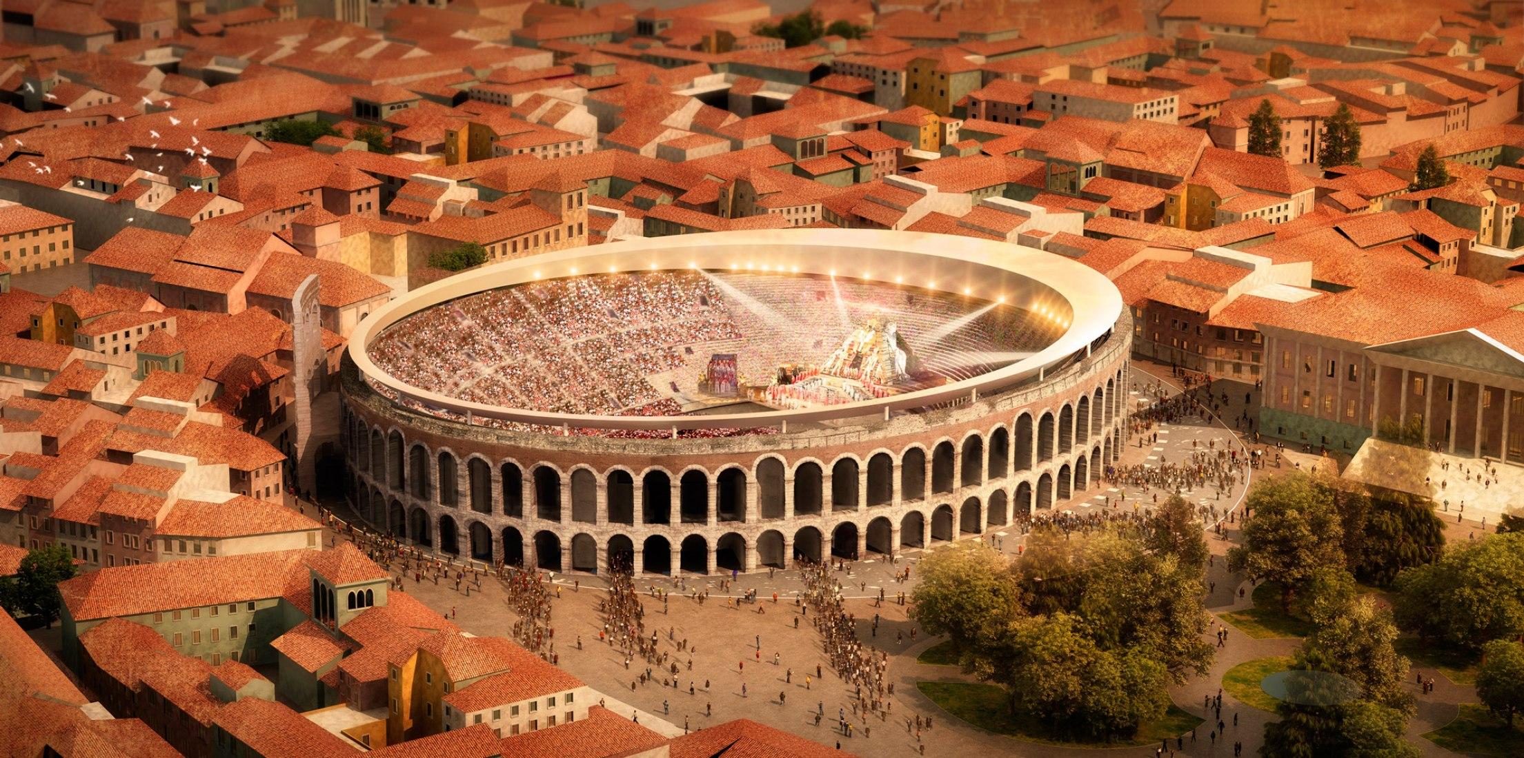 Visualización con la cubierta abierta. La nueva cubierta para el anfiteatro de Verona será diseñada por Gmp Architekten y sbp