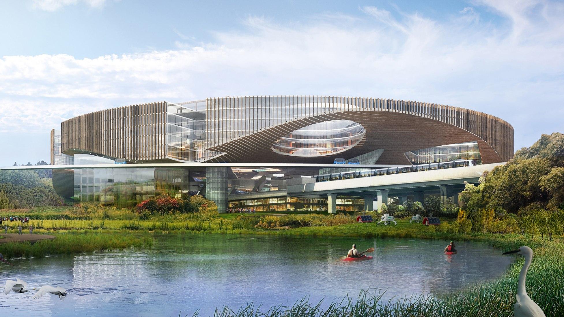Furutura Ciudad de la Ciencia y la Tecnología de Chengdu por OMA. Imagen cortesía de OMA