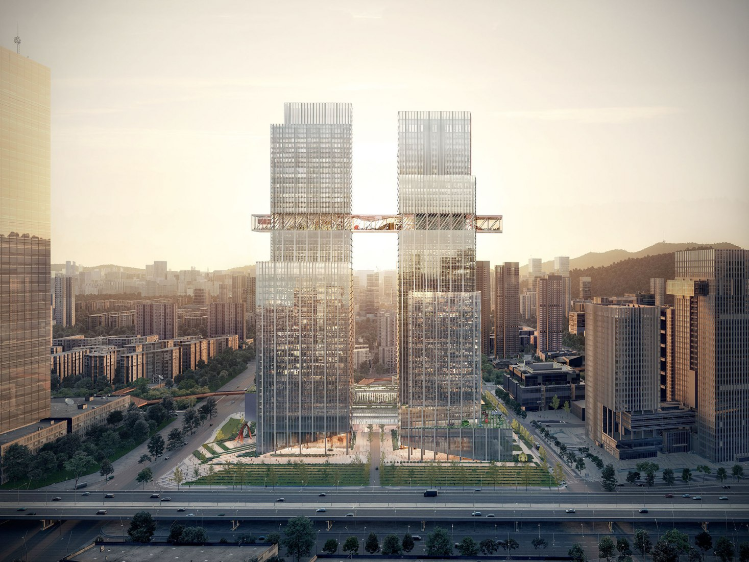 Rendering. CMG Qianhai Global Trade Center by OMA. Image courtesy of OMA