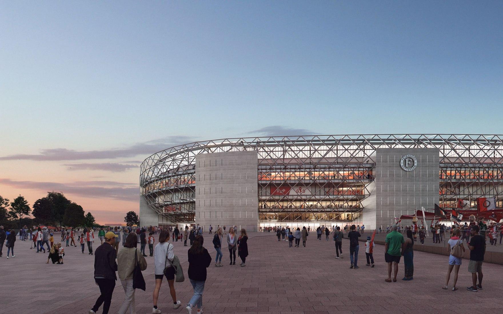 New Feyenoord Stadium by OMA. Image courtesy of OMA, LOLA Landscape Architects and Beauty & The Bit
