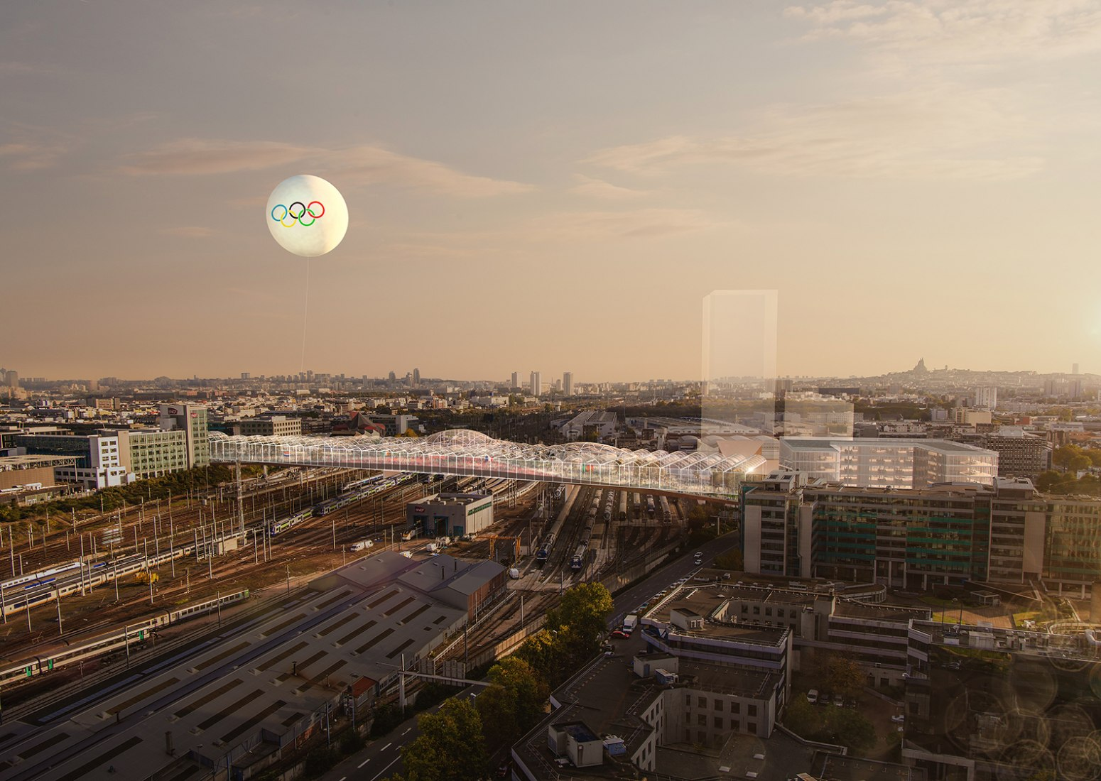 JJOO. Halle Commune. OMA's proposal for Pleyel Bridge. Image © Bloom. Image courtesy of OMA.
