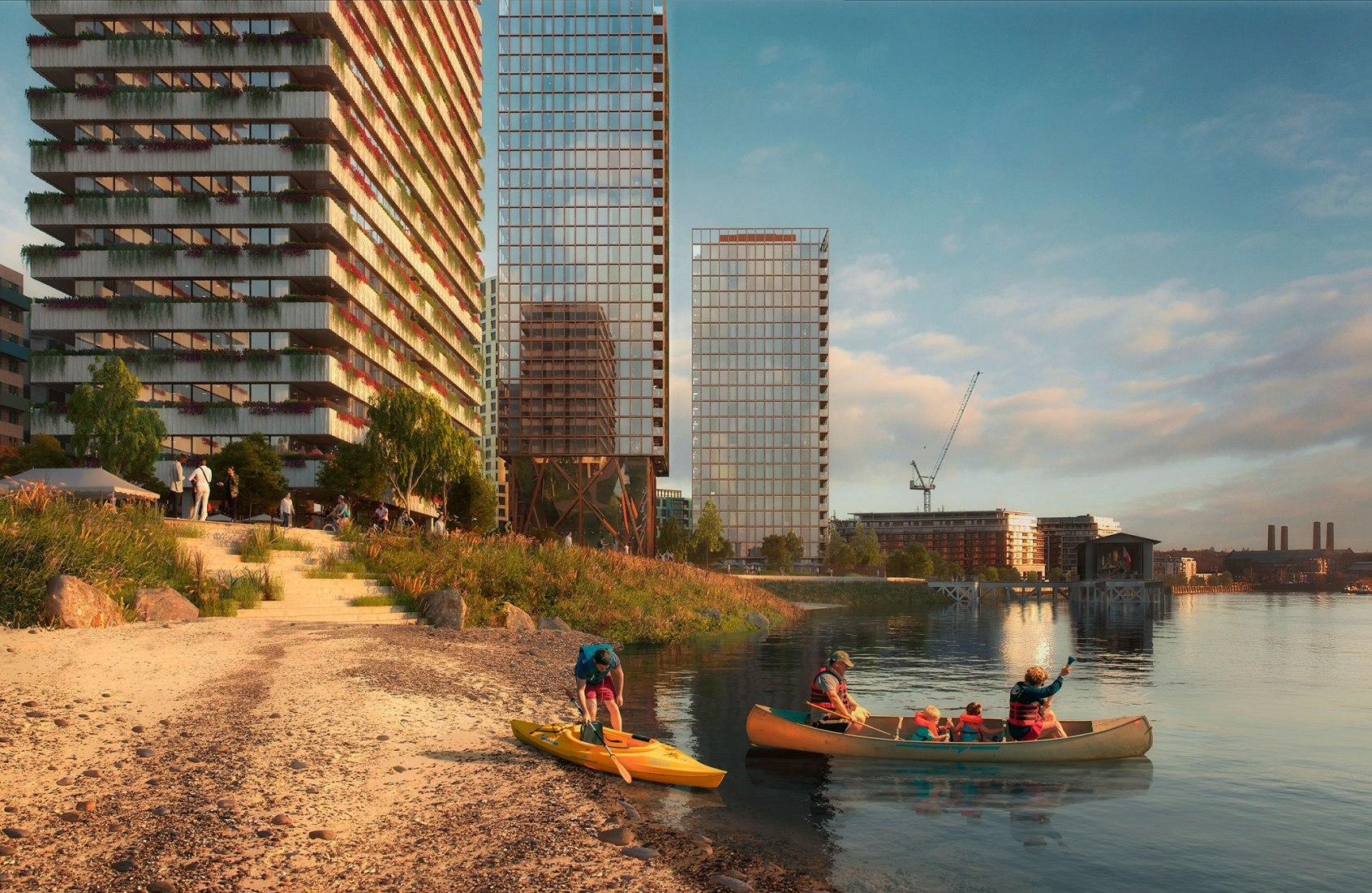 Plan maestro para Morden Wharf por OMA/Reiner De Graaf. Imagen de Pixelflakes, cortesía de OMA