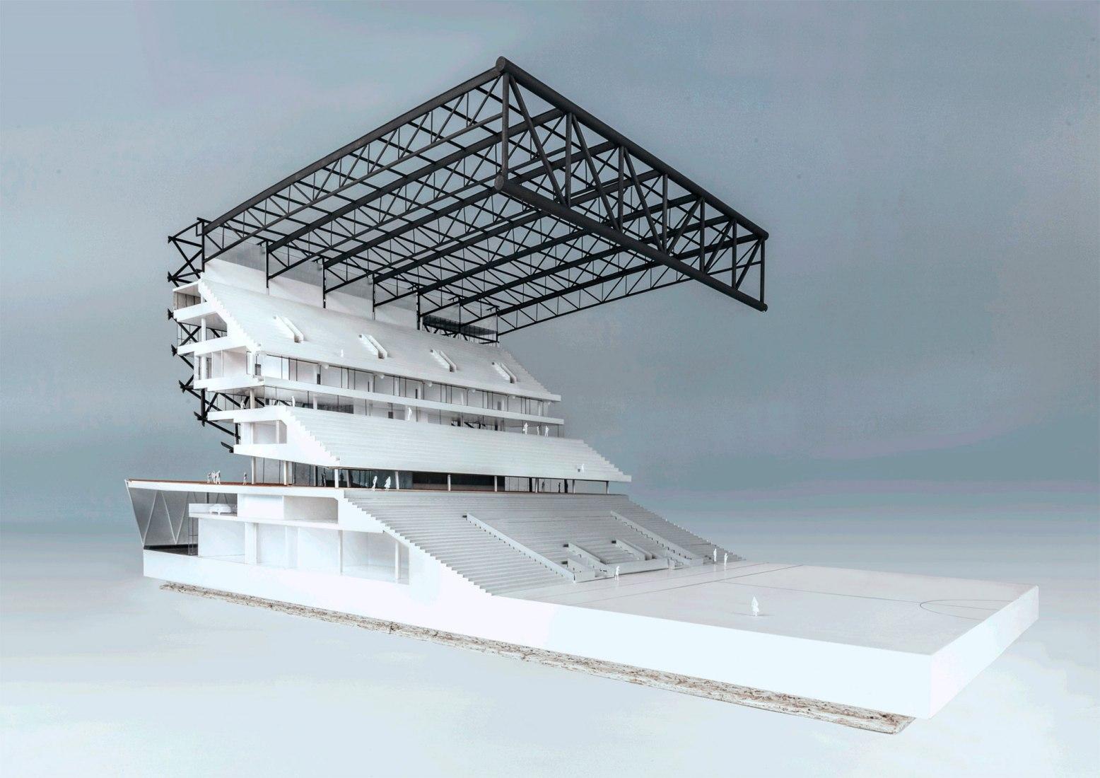 Maqueta. Nuevo Estadio Feyenoord de OMA. Imagen cortesía de OMA