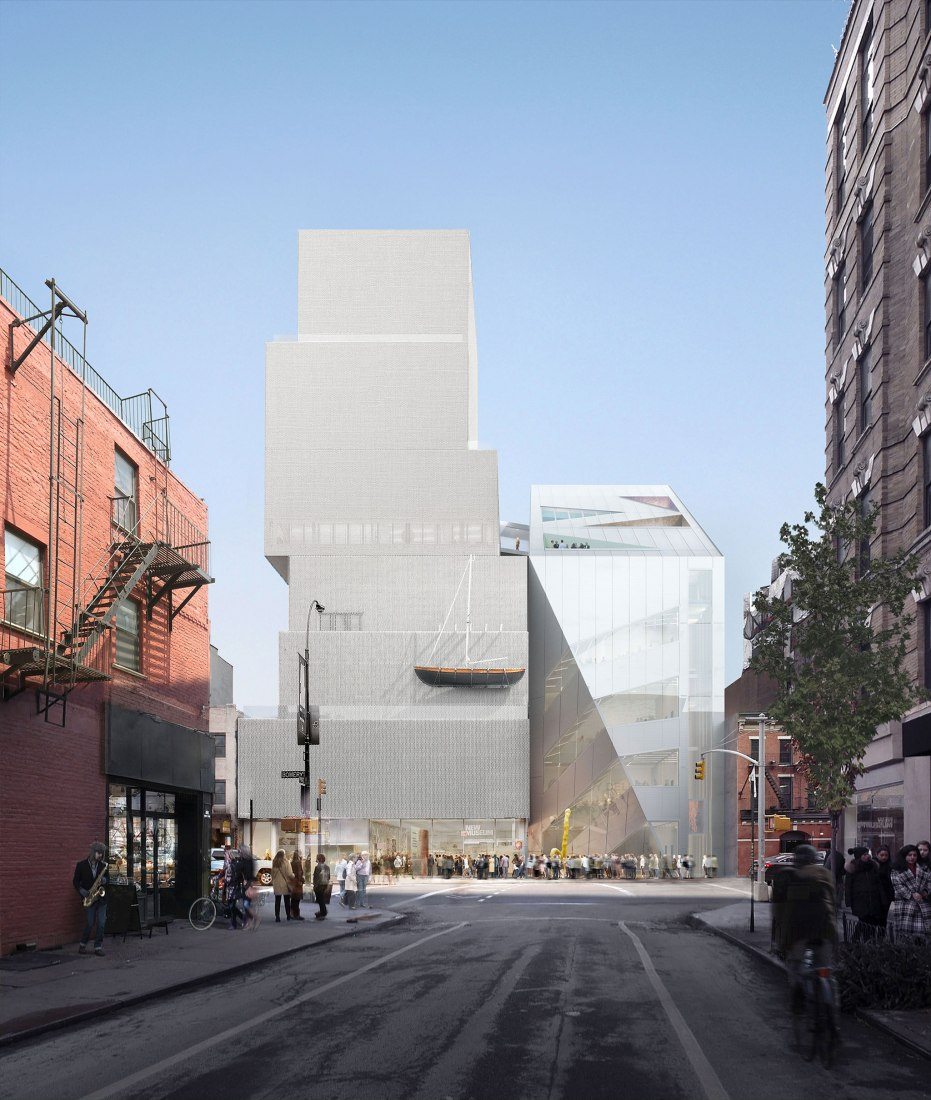 Rendering of the New Museum and its addition, seen from Prince Street, shows how the materials of OMA's addition, at right, pays tribute to Sanaa's rough-hewed pointillist look, at left. The addition's facade is made of a mesh that appears metallic during the day. Image courtesy of OMA and Bloomimages.