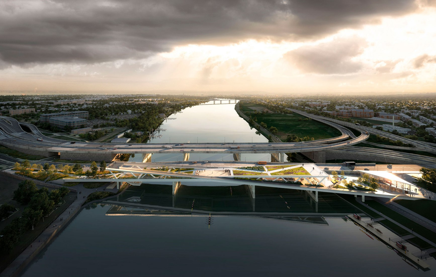 Aerial view of the bridge. Rendering. 11th Street Bridge Park by OMA team. Image courtesy of Luxigon / OMA