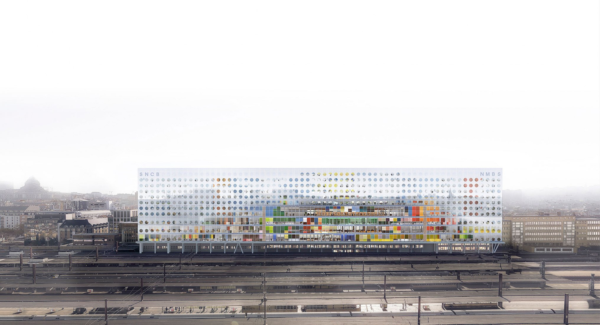 New Headquarters of SNCB NMBS by OMA/Reinier de Graaf. Image by Luxigon