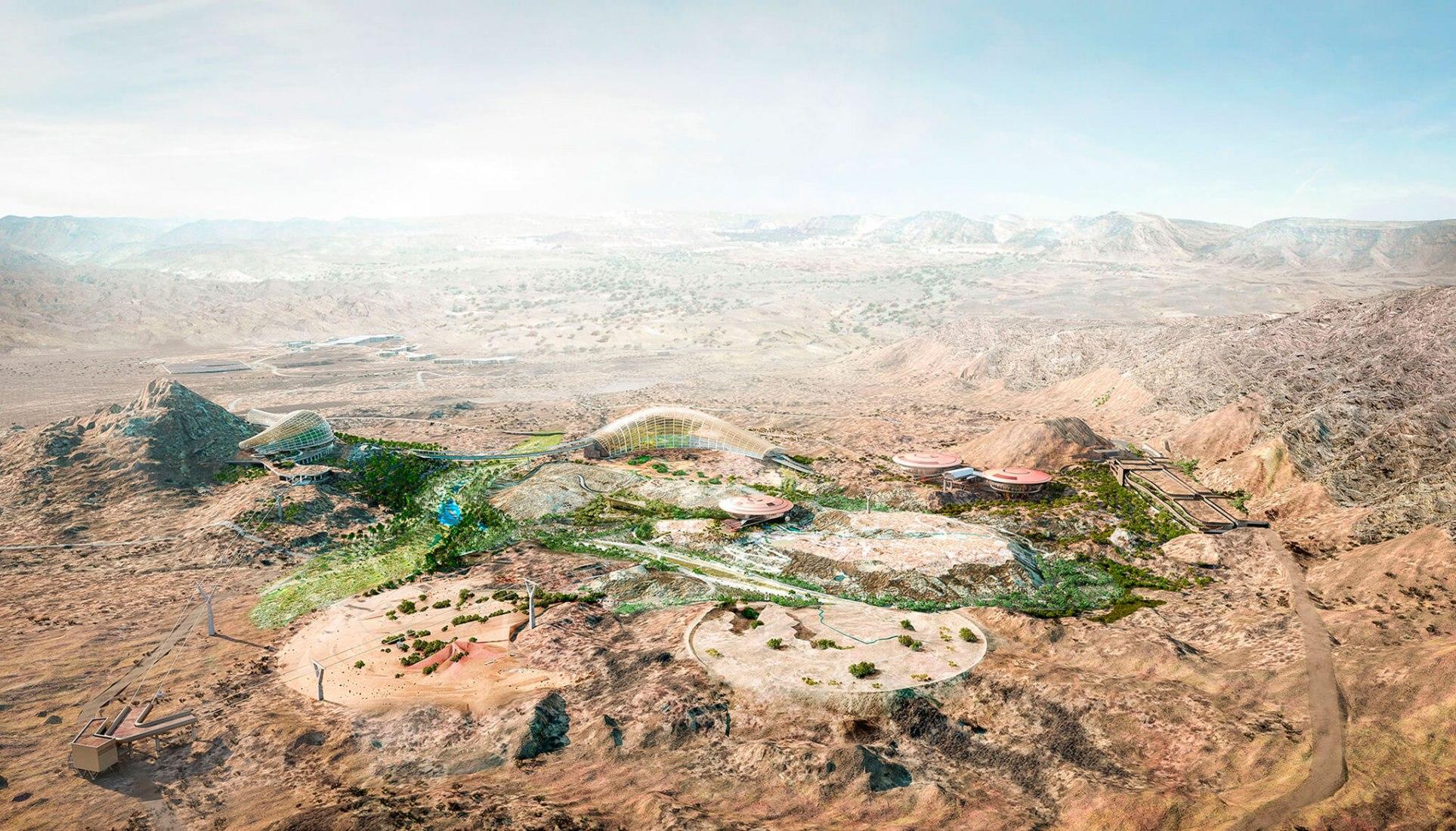 Visualización del Jardín Botánico de Omán por Grimshaw Architects