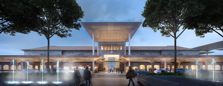 Vista nocturna del acceso. Estación Internodal de Orense por Foster + Partners. Imagen cortesía de Foster + Partners