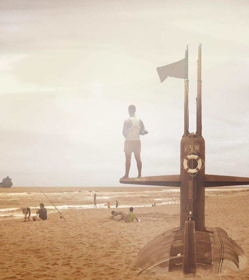 """Pedro Bandeira, Vigilante de salvavidas, Emder Hafen, ilustraciones de la propuesta """"Sea of Sand"""" para Figueira da Foz, 2011"""