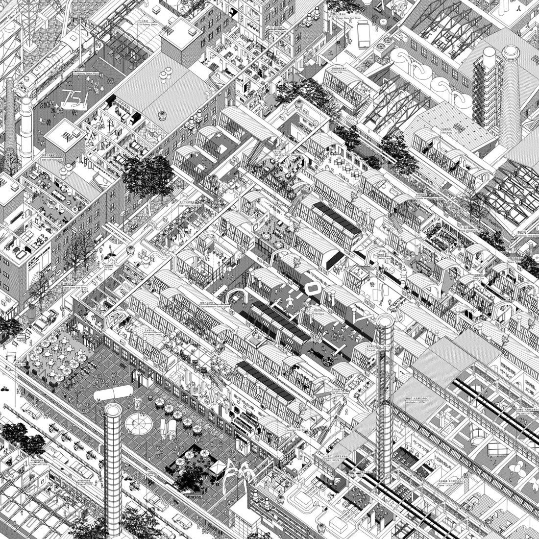 Un dibujo de un pedacito de Pekín: 798, imagen vía The Japan Foundation