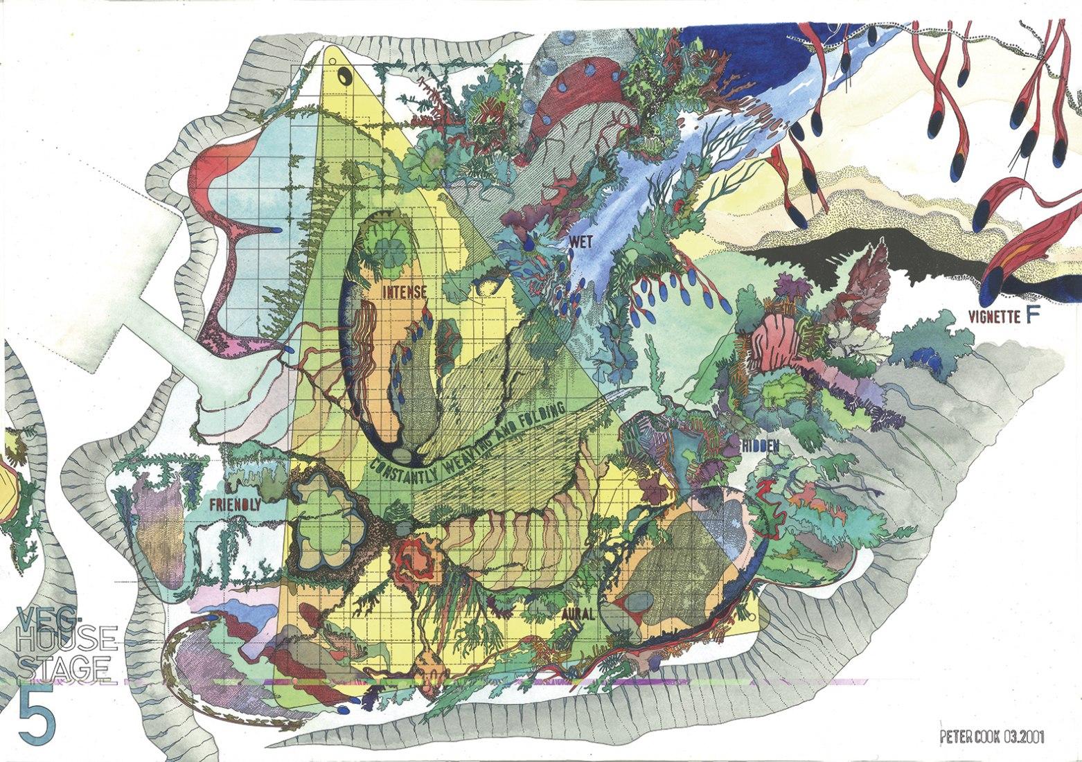 Casa Veg: Fase 5 por Peter Cook. Grabado, acuarela. 2001. 50 x 70 cm. Imagen © Peter Cook.