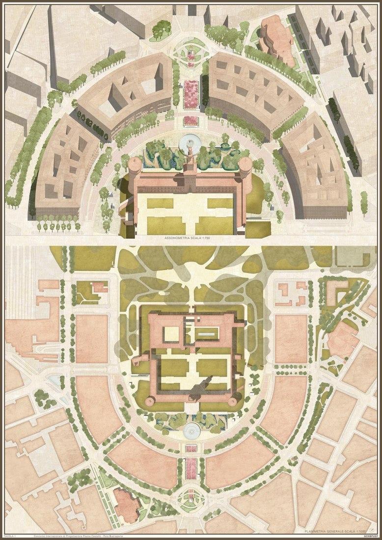 The proposal for Piazza Castello's Competition by Torricelli, Castiglioni, Georgi, Comi and Sortino.