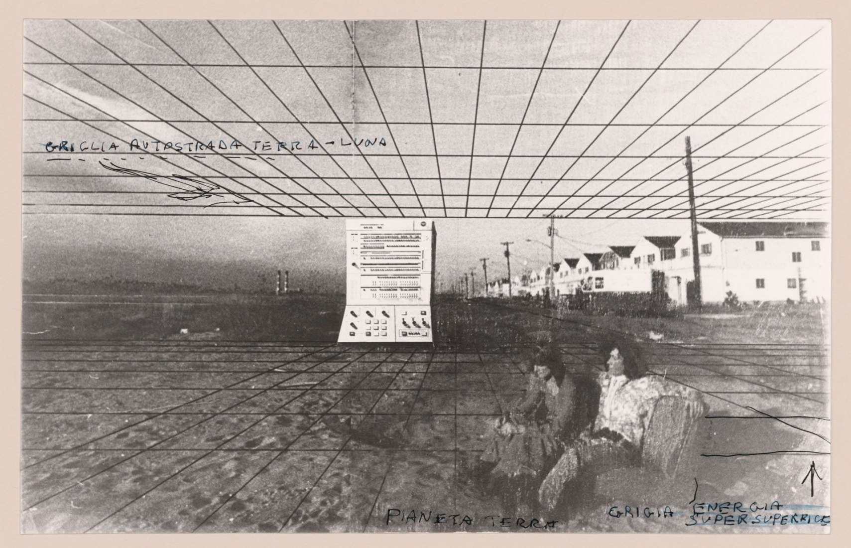 Alessandro Poli. Collage with sketches and notes, combining two projects: the terrestrial grid of the Supersuperficie [Supersurface], and the Autostrada Terra-Luna [interplanetary highway] overhead, 1972. Fonds Alessandro Poli, CCA. © Alessandro Poli