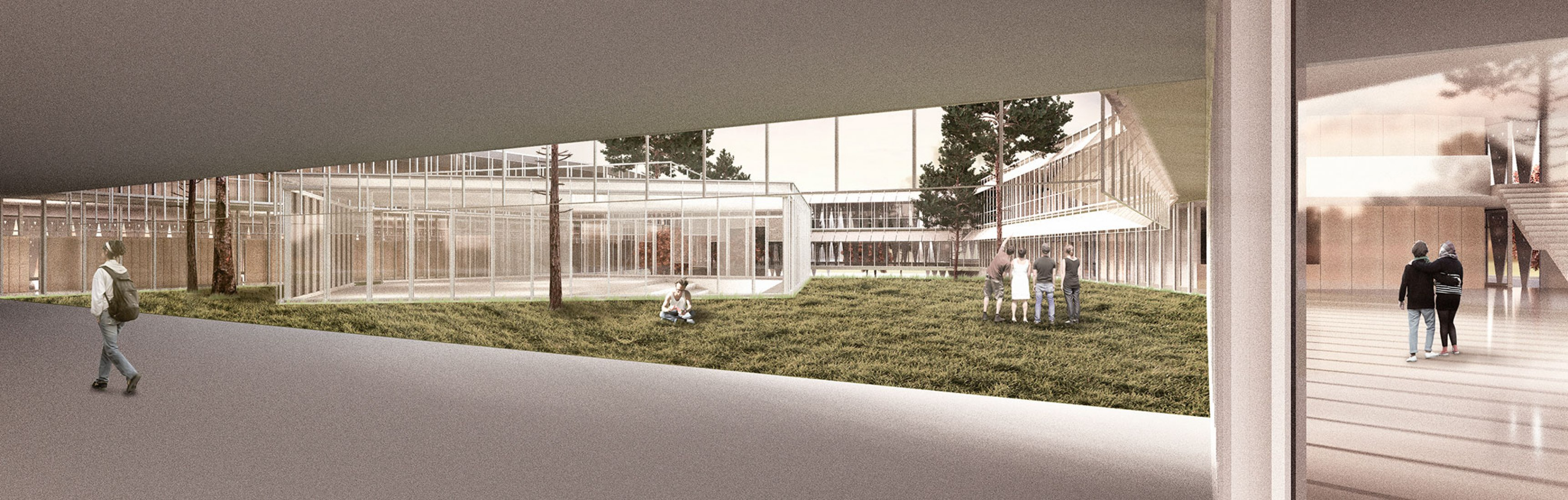 Rendering of the Campus scolastic. Porta Sud by Francisco Mangado.