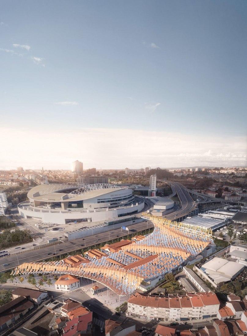 Vista de pajaro de la zona. Matadero de Oporto convertido en un nuevo complejo cultural por Kengo Kuma y OODA