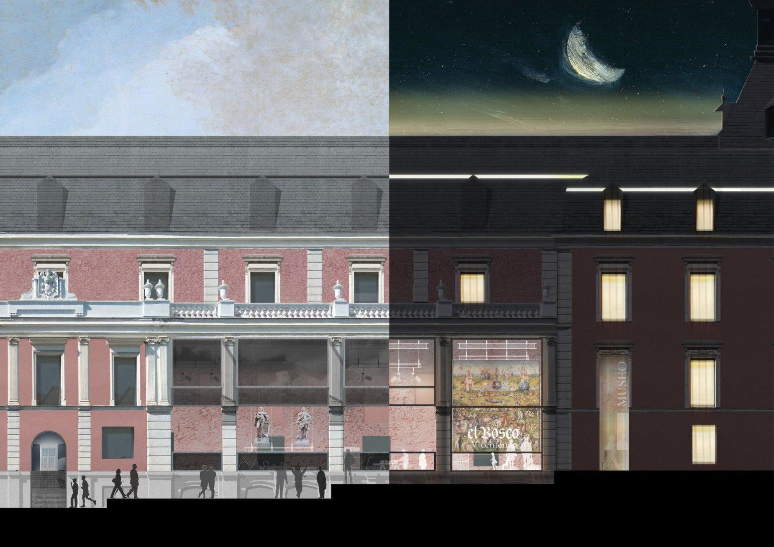Night and day. El Prado Extension, by OMA and Linazasoro & Sánchez. Image courtesy of OMA.