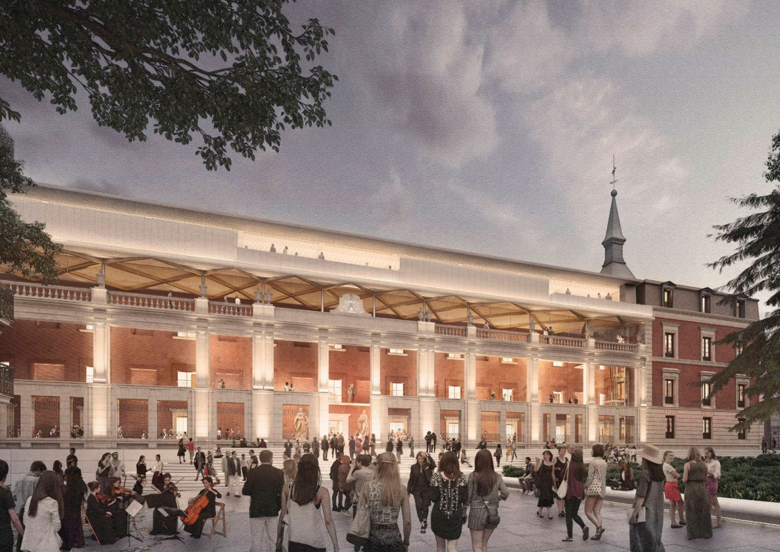 Exterior rendering to the Casón del Buen Retiro. Project by Foster + Partners. Image courtesy of Foster + Partners