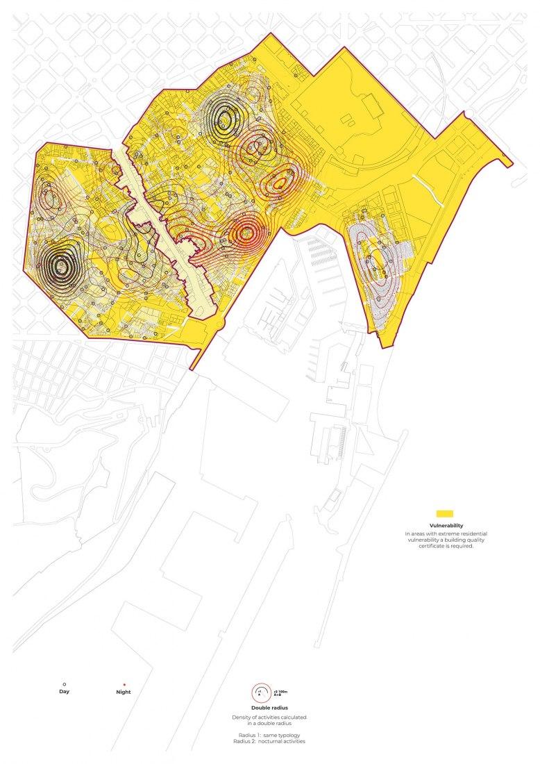 Plan of uses of Ciutat Vella, in Barcelona, Spanish Planning Award 2019, by 300.000Km/s - Mar Santamaría and Pablo Martínez