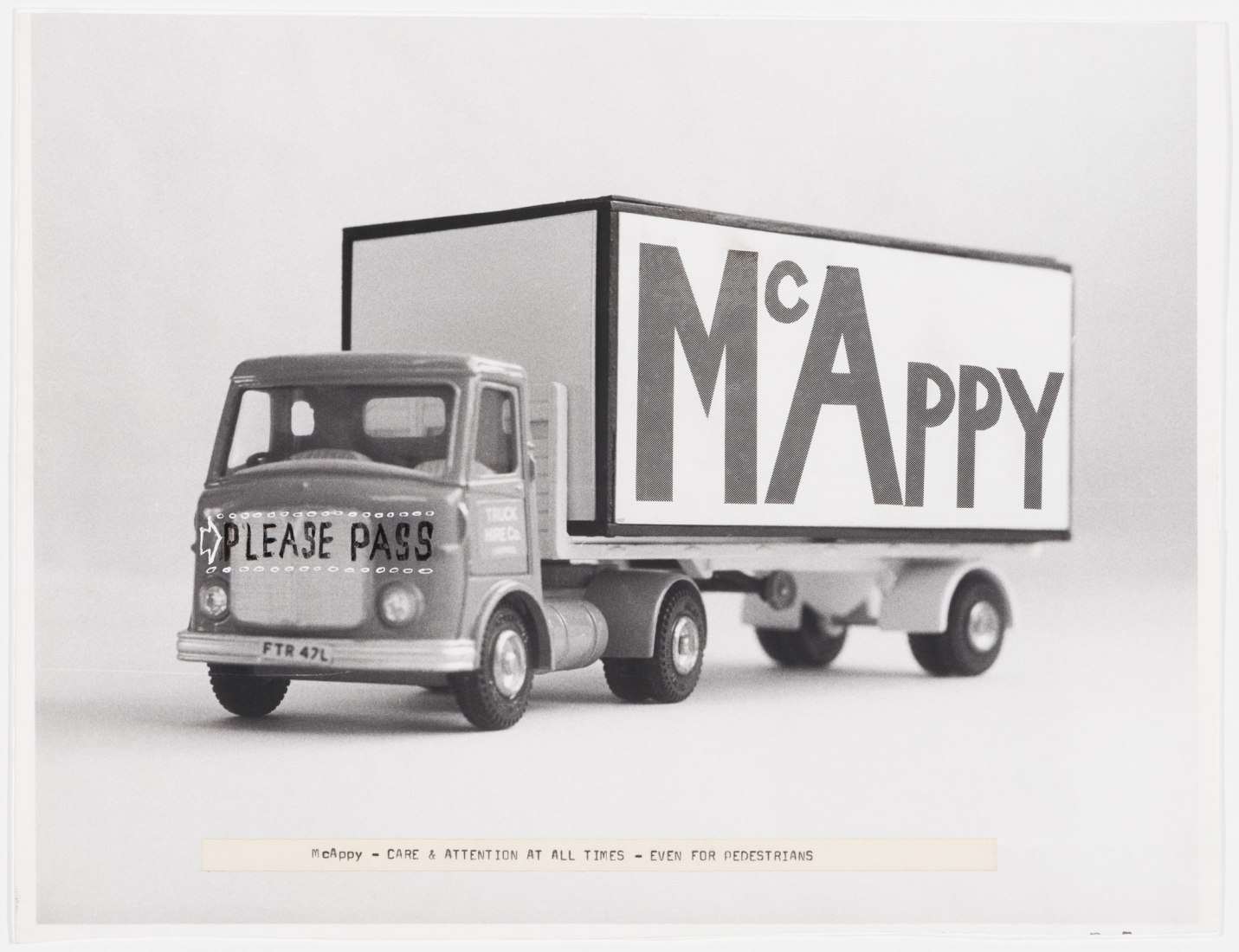 """Cedric Price. McAppy: Photograph of McAppy truck with comments,""""Care and attention at all times – even for pedestrians"""", 1973–1975. Cedric Price fonds, Canadian Centre for Architecture © CCA, Montréal."""
