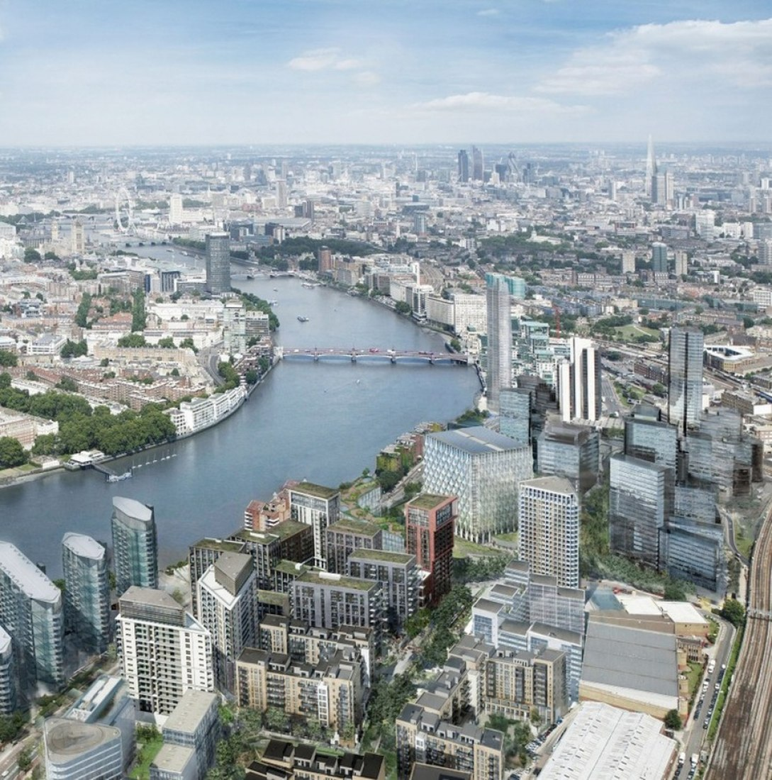 View of the River Thames at Nine Elms, looking east. Image courtesy of St James' Group.