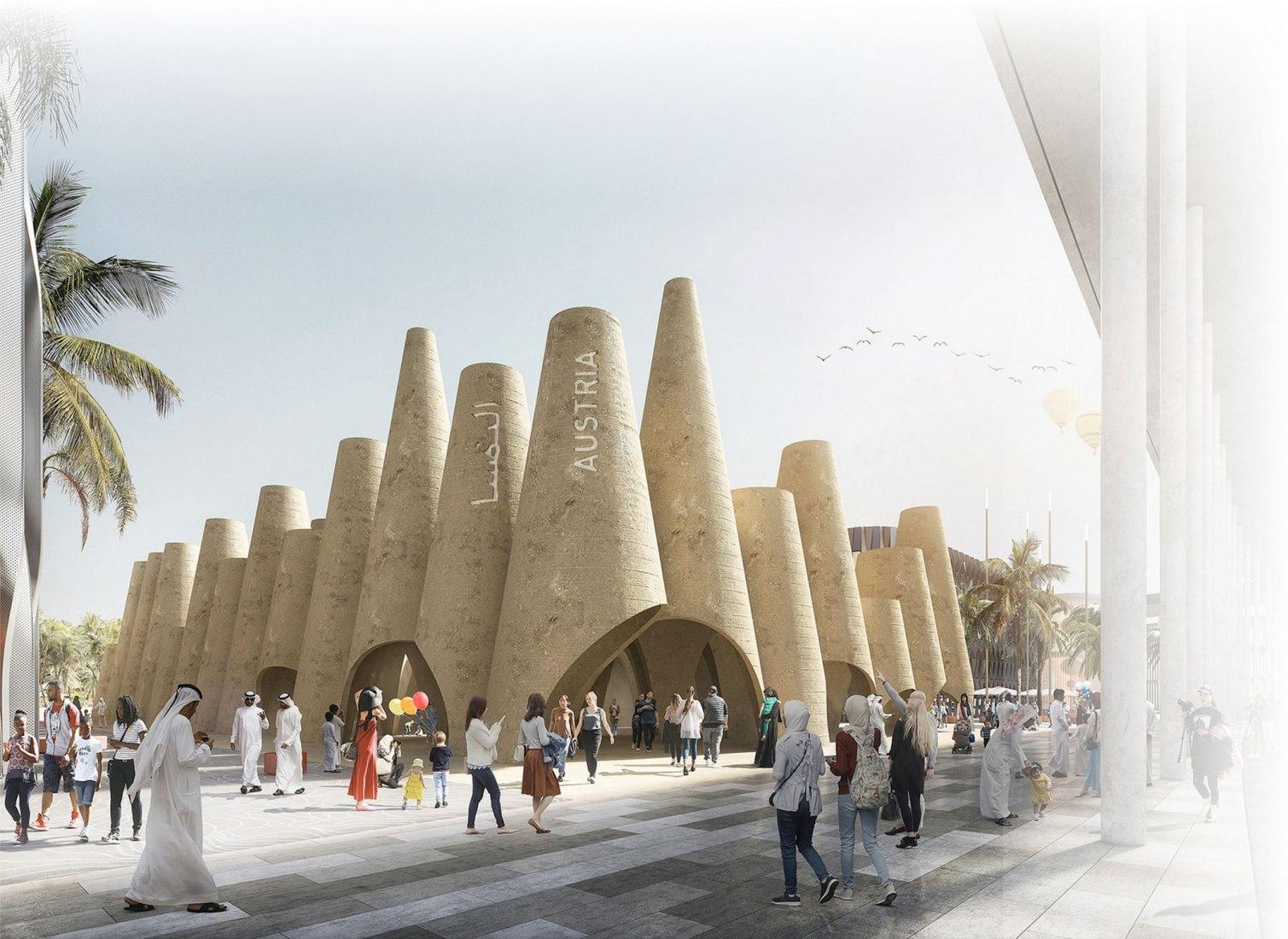 Rendering. Austrian Pavilion for Expo 2020 Dubai by querkraft architekten. Image © querkraft architekten - bagienski