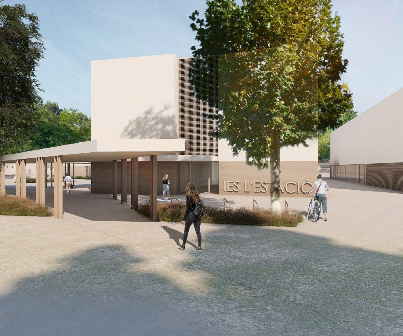 Rendering. L'Estació High School by Ramón Esteve. 3D Rendering by Tudi Soriano, Pau Raigal
