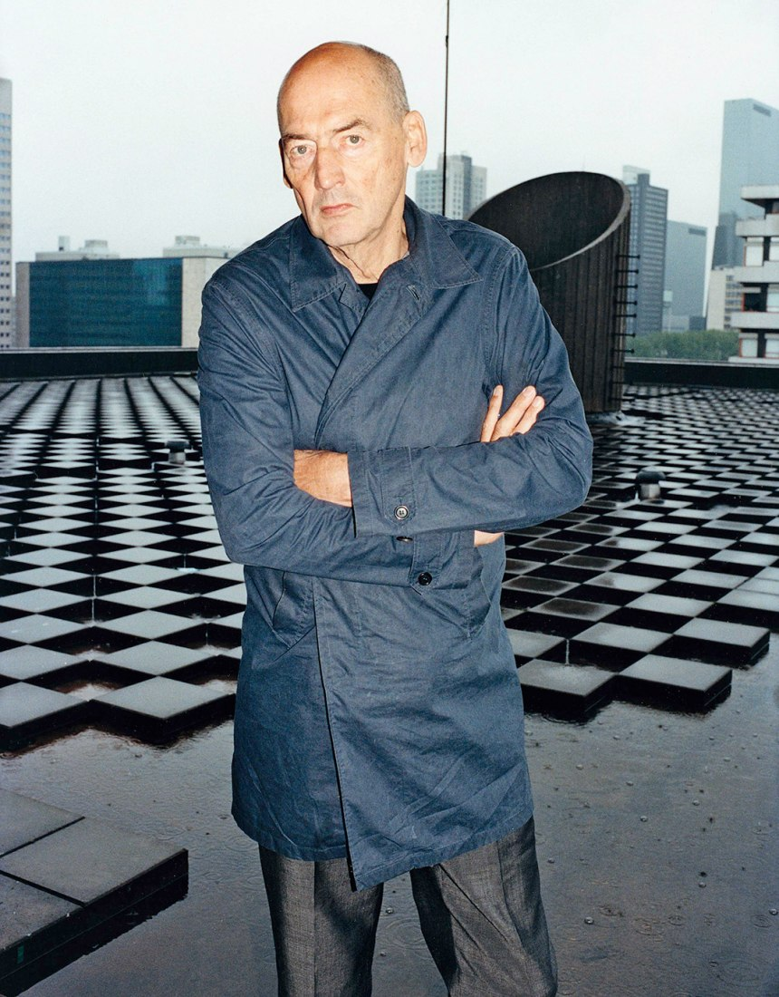 Rem Koolhaas on the roof of  OMA in Rotterdam.  Photograph © Tung Walsh