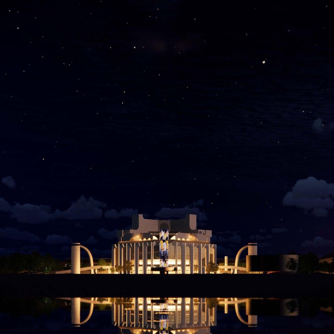 Concurso de Arquitectura para el Concepto de Rehabilitación del Teatro Dramático en Veliky Novgorod por Rhizome. Visualización por Rhizome