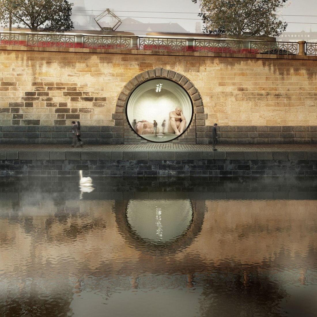 Floating pool rendering. Prague's riverfront by petrjanda/brainwork