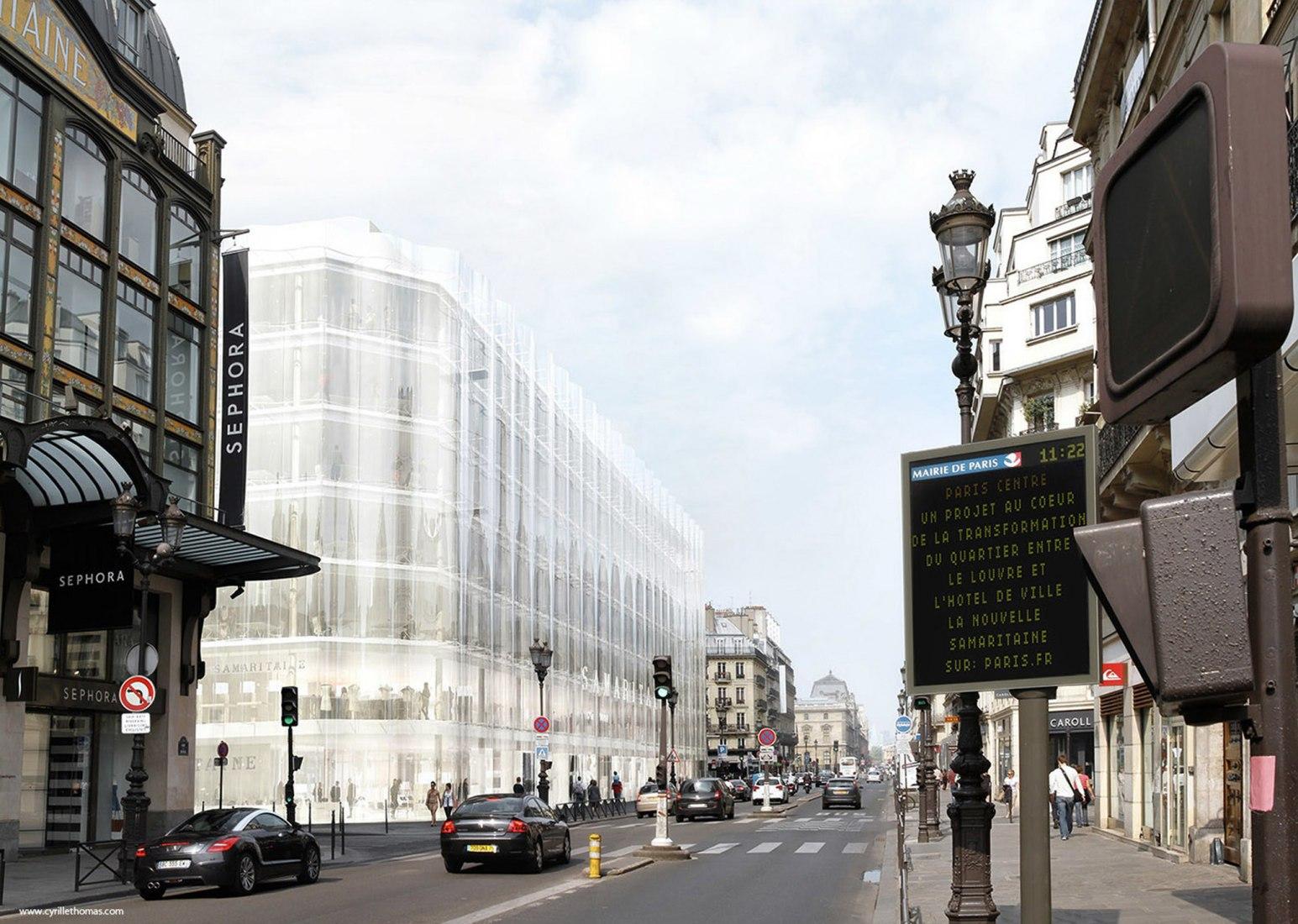 Outside rendering of La Samaritaine project by SANAA