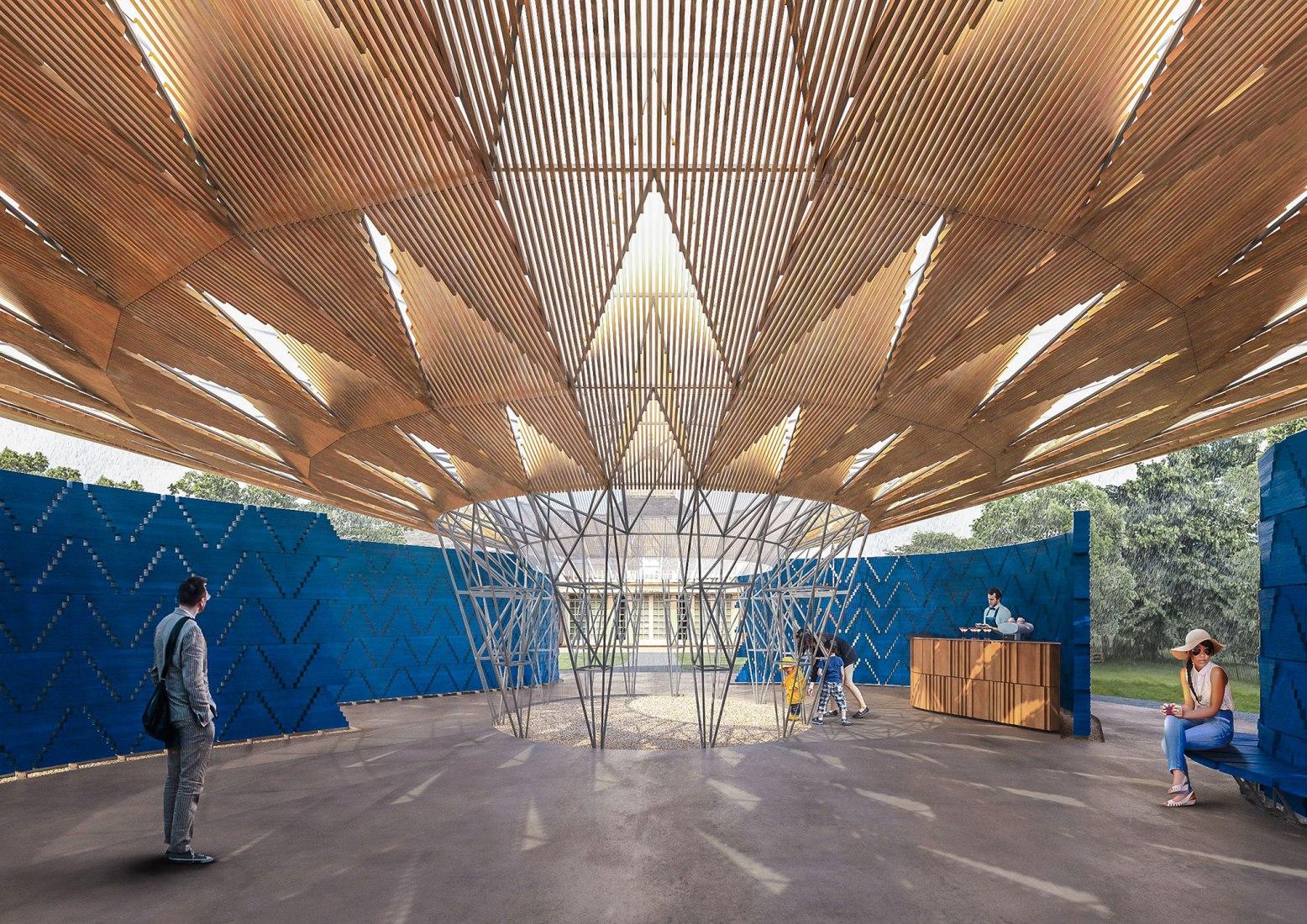 Pabellón Serpentine 2017, diseñado por Francis Kéré, Render de Diseño, Interior. Imagen © Kéré Architecture. Imagen cortesía de Serpentine Galleries