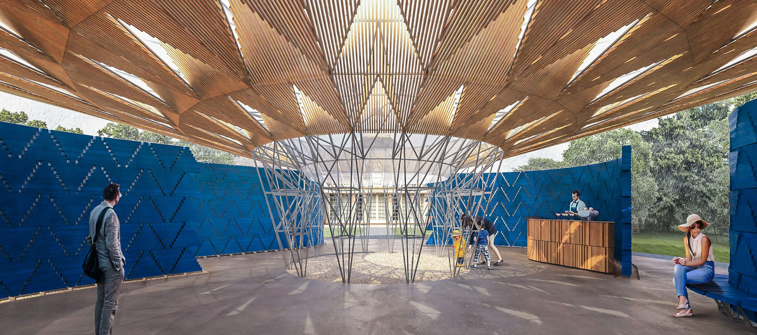 Serpentine Pavilion 2017, Designed by Francis Kéré, Design Render, Interior. Image ©Kéré Architecture. Image courtesy of Serpentine Galleries.