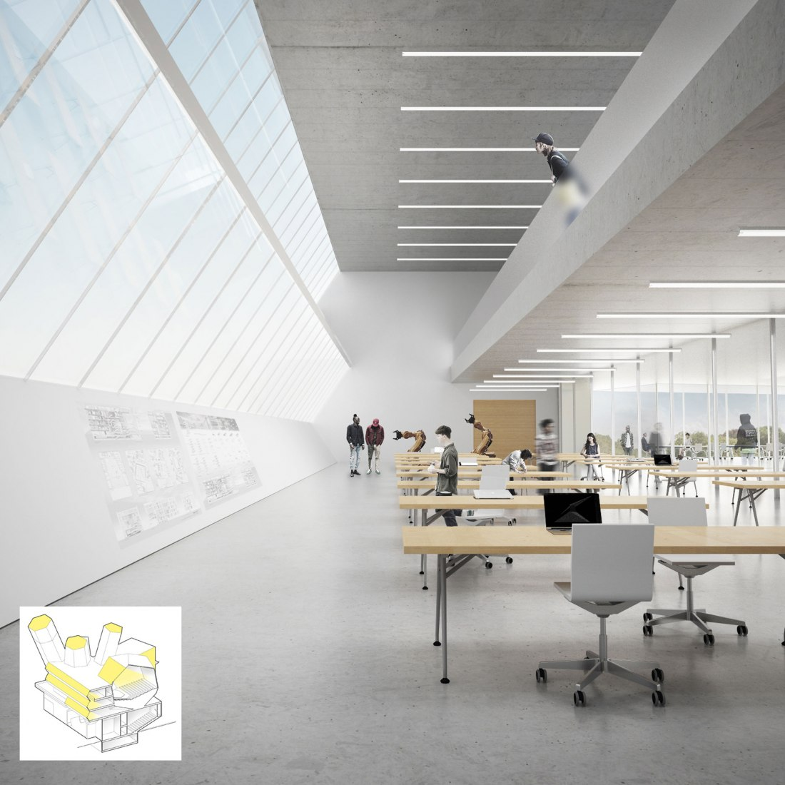 Vista interior. Futuro campus de la Universidad de Dublín por Steven Holl Architects. Visualización por Steven Holl Architects