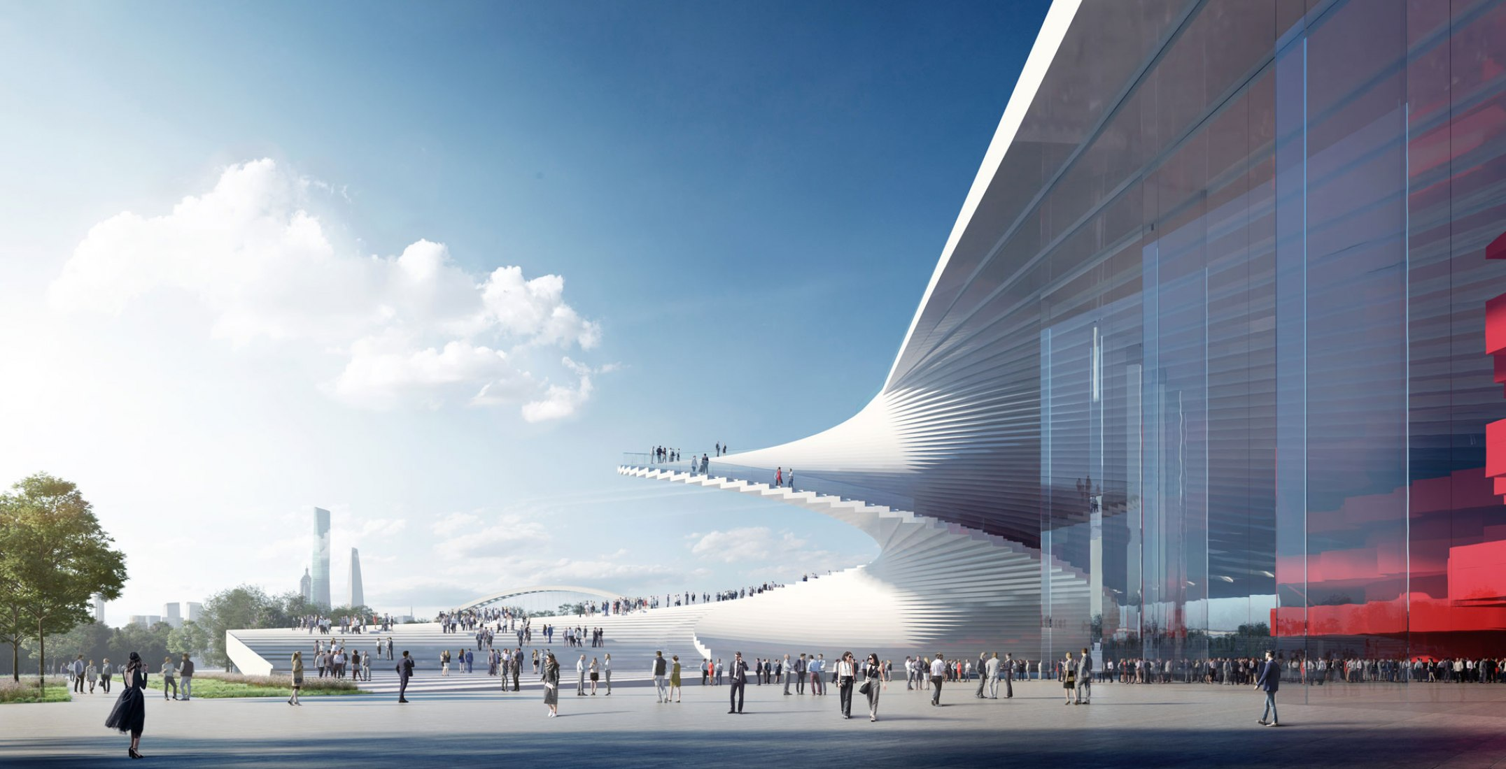 Shanghai Grand Opera House by Snøhetta + ECADI. Rendering by Brick Visuals.