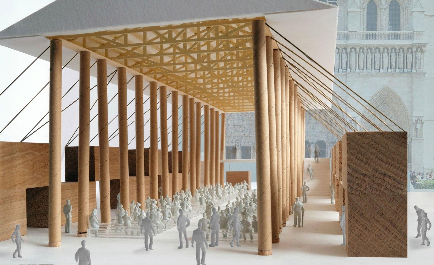 Detalle de maqueta. Pabellón temporal de Notre-Dame por Shigeru Ban Architects. Visualización por Shigeru Ban Architects