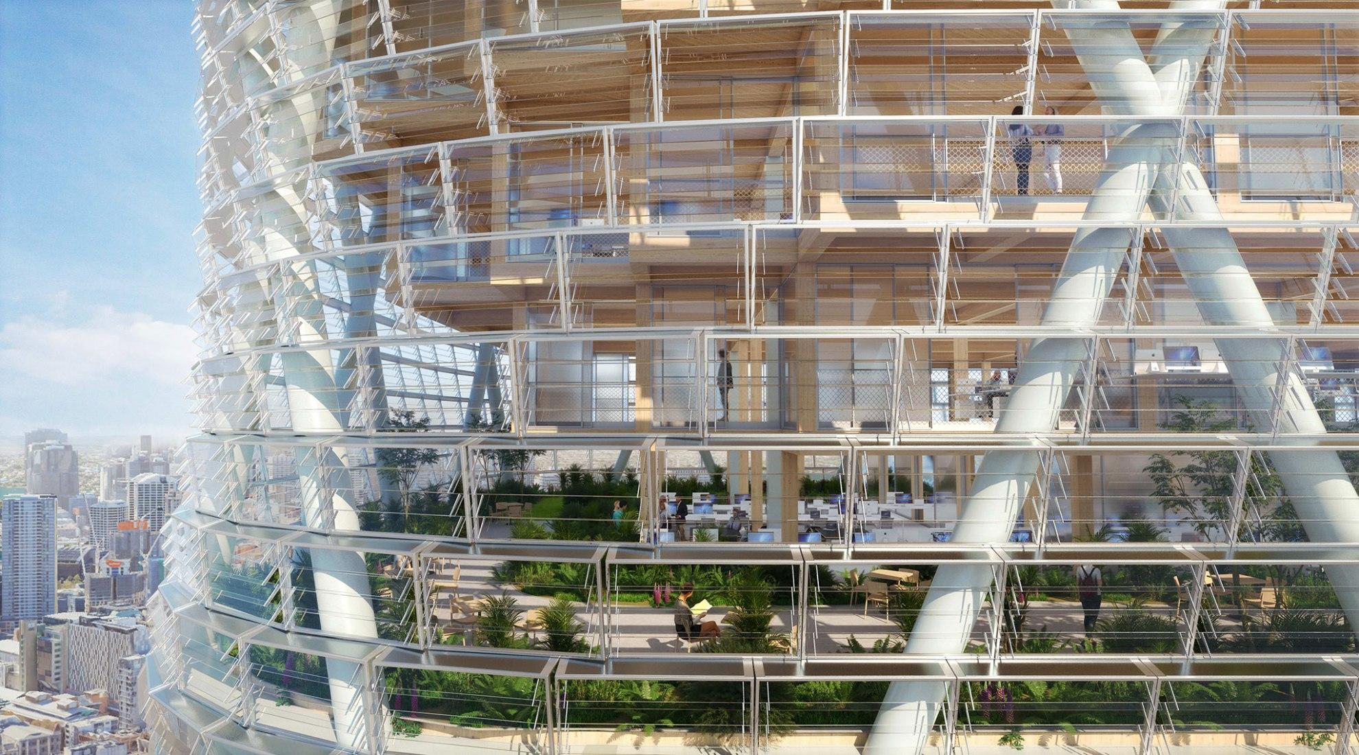 El edificio está soportado por un exoesqueleto de acero. Visualización por SHoP / BVN Architects. Imagen cortesía de Atlassian.