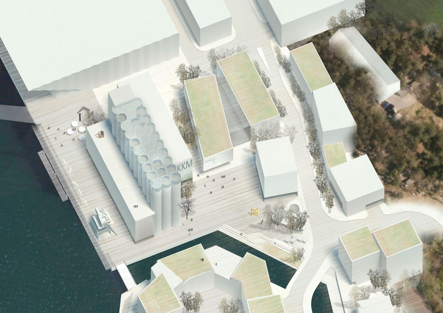 Vista de pájaro. Silosamlingen por Mestres Wåge Arquitectes y MX_SI architectural studio. Imagen cortesía de Kunstsilo.