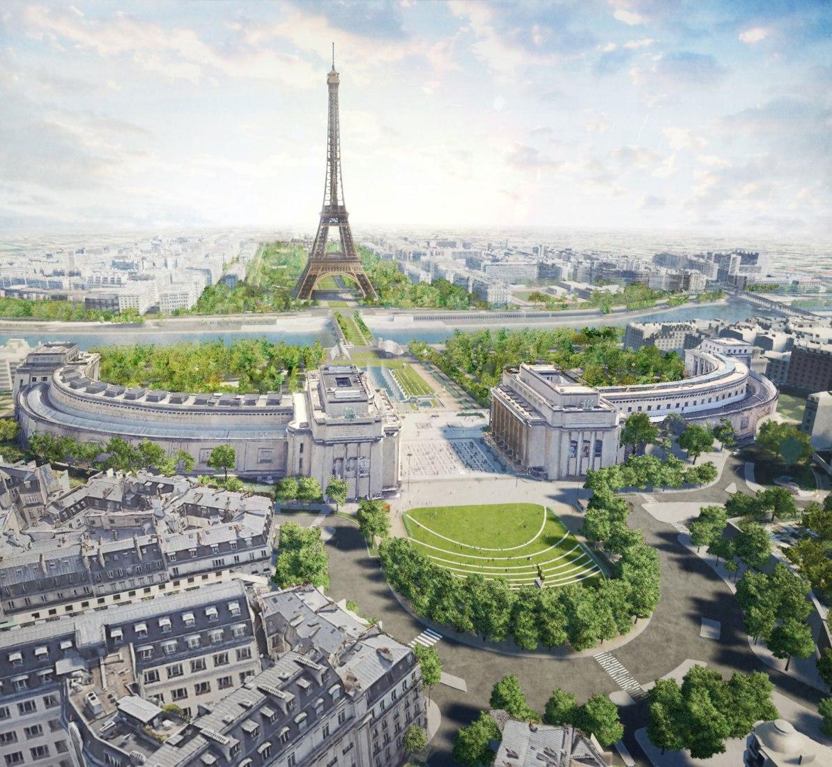 Vista general del diseño. Gustafson Porter + Bowman, ganadores del concurso Site Tour Eiffel. Imagen cortesía de © MIR. Image courtesy of ©MIR.