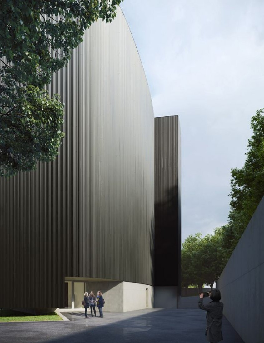 Outside rendering. MoAE – Huamao Museum of Art Education by Álvaro Siza with Carlos Castanheira