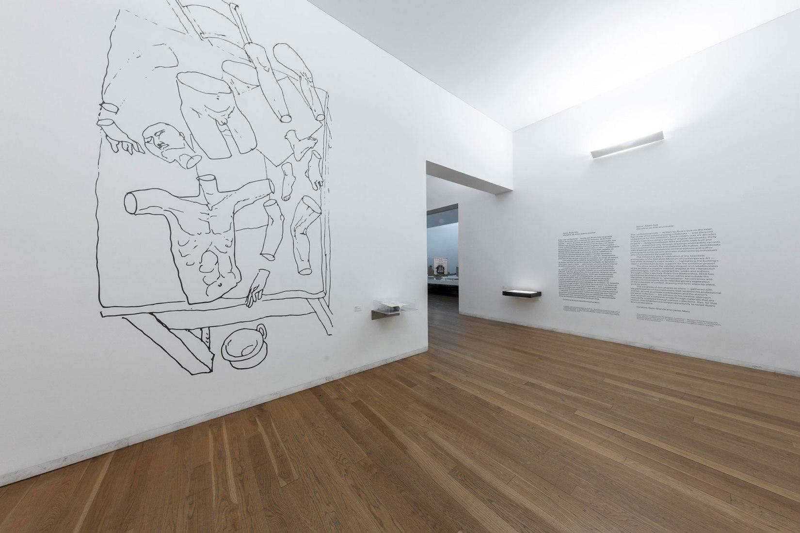 Imagen de sala de la exposición. In/Discipline - Álvaro Siza. Fotografía por Raul Betti, imagen cortesía Museo Serralves