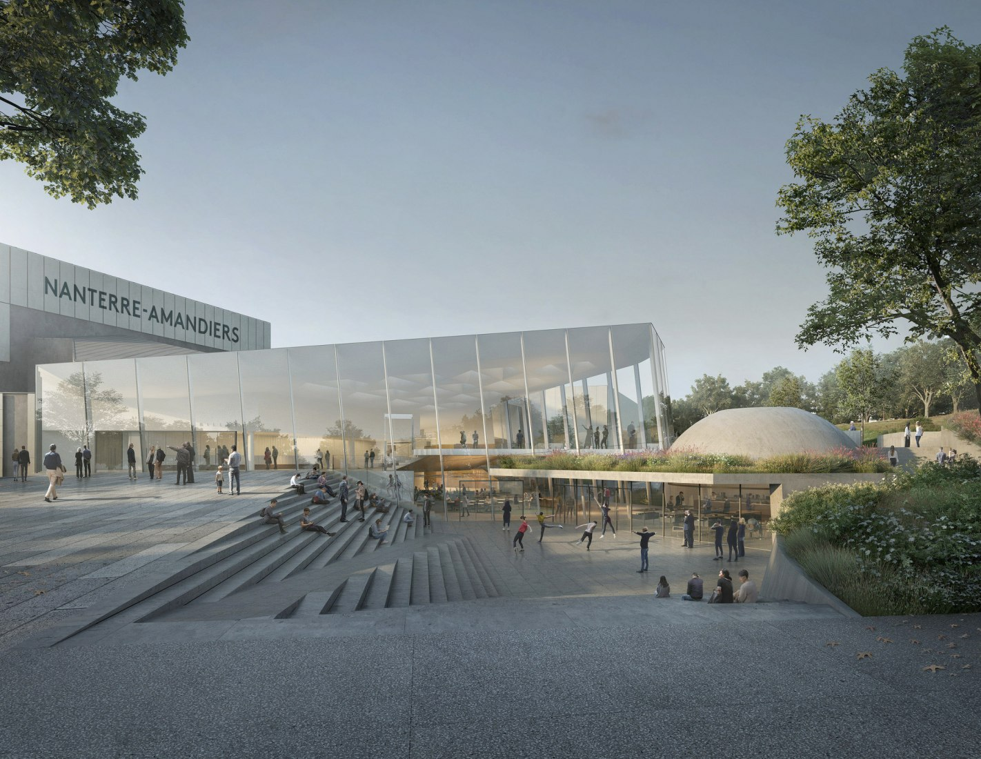 Exterior rendering. Renovation of the Théâtre Nanterre-Amandiers by Snøhetta